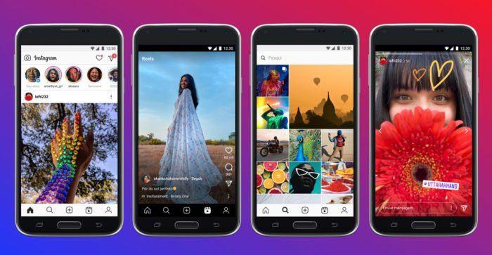 Telas de celular com imagens do Instagram Lite. Fim da descrição.