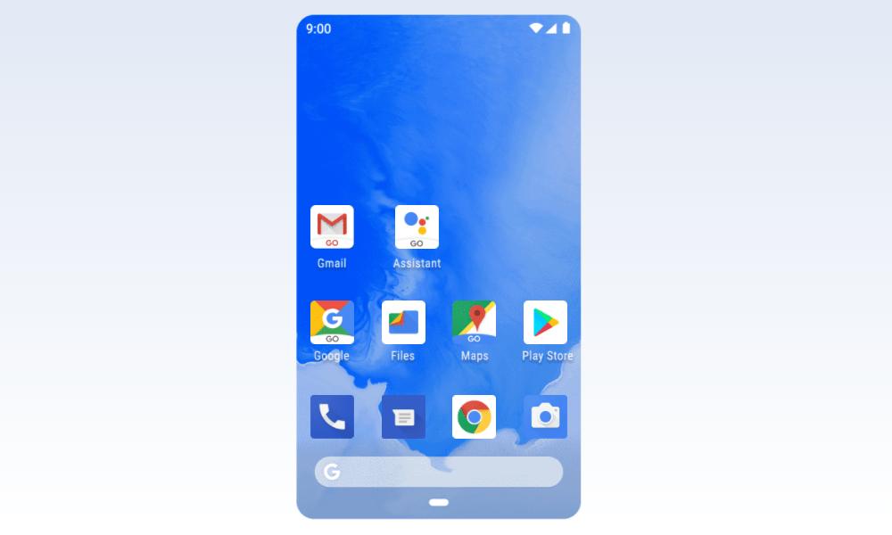 Tela do Android Go. Fim da descrição.