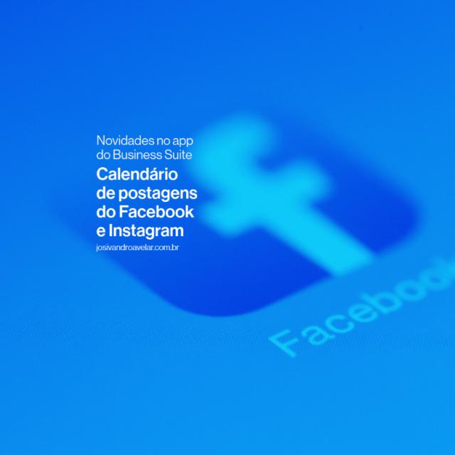 Calendário de postagens do Instagram e Facebook
