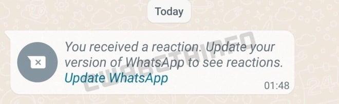 "Mensagem: ""You received a reaction. Update your version of WhatsApp to see reactions. Update WhatsApp"". Print WABetaInfo. Fim da descrição."