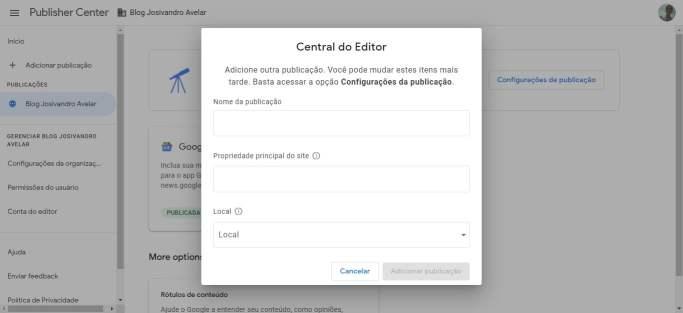 A interface do Publisher Center do Google Notícias. Central do Editor, por onde você adiciona um site.