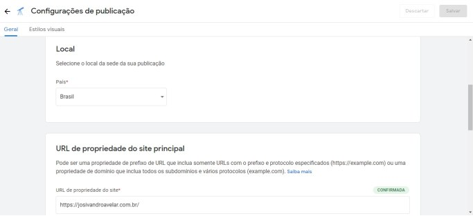 Inserção de local de publicação e URL de propriedade do site principal.