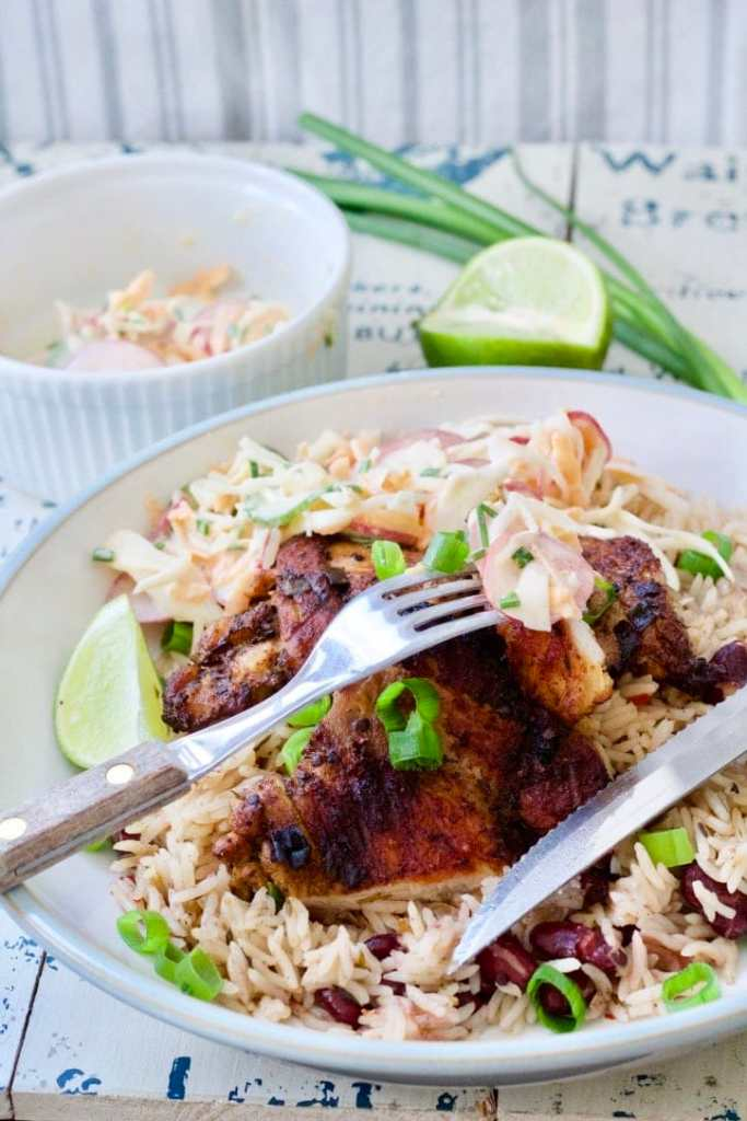 Cheat's Jerk Chicken with Rice & Peas (Beans)