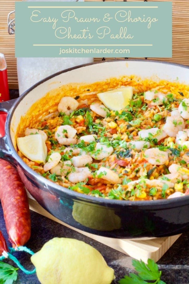 This Easy Prawn & Chorizo Cheat's Paella with its smoky flavours from paprika and chorizo & sweet tasting prawns will become your favourite midweek supper. #paella #chorizo #midweeksupper #prawns #spanishflavours #familyfriendly