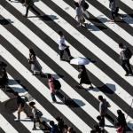 People walking across lines