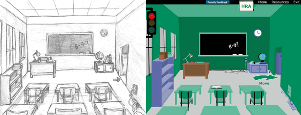 """Here is a cleaned up drawing and final production piece I created for one of our clients. In this e-learning course the learner explored multiple scenes and had to """"spot"""" the hazards. Most of my time was used up front to sketch and create a final drawing for the client to approve so there would not be many changes during production and building."""