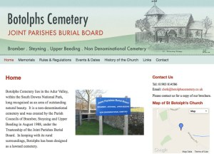 Botolphs Cemetry website screen shot