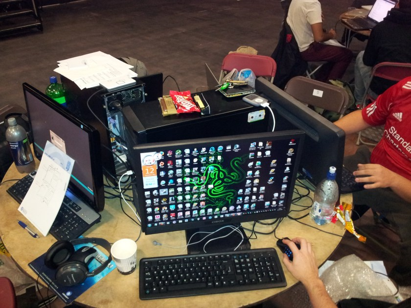 Some brought their desktop rigs