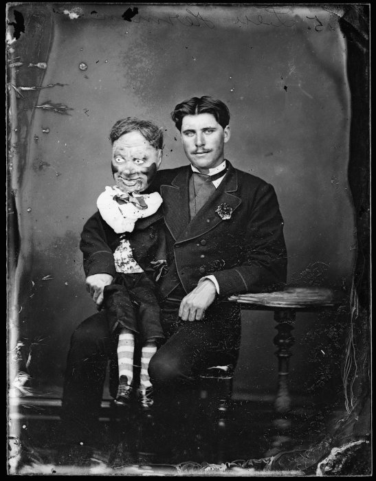 Man with his ventriloquist dummy c1870