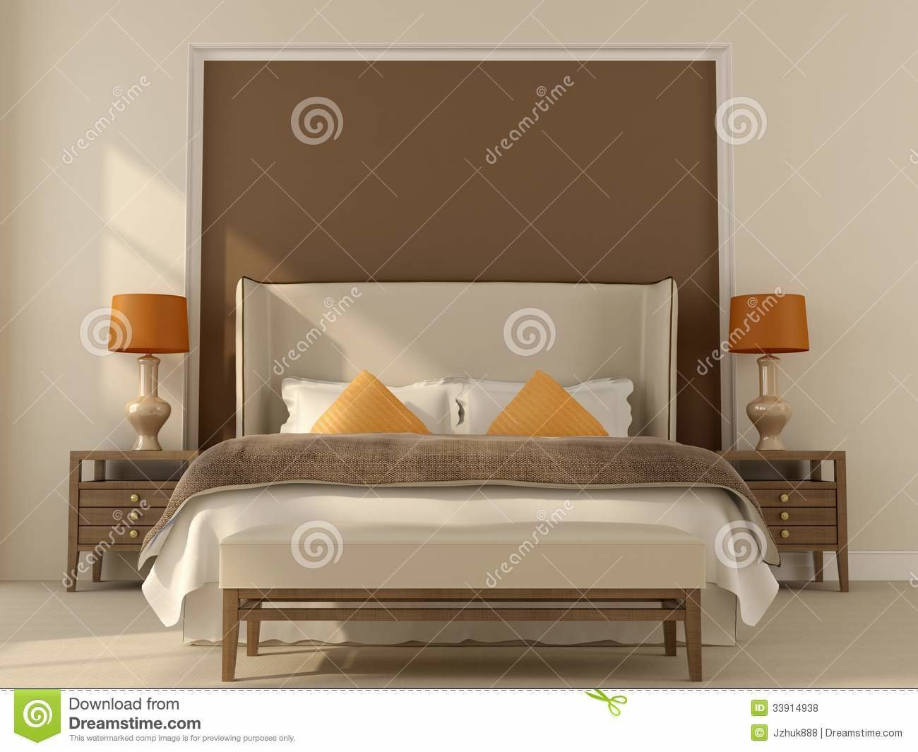 Best Beige Bedroom With Orange Decor Stock Illustration With Pictures