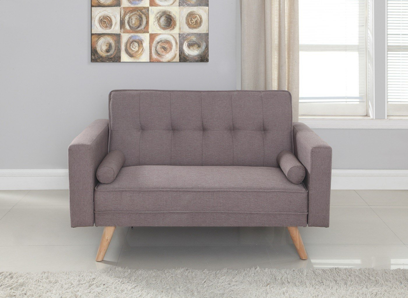 Best Ethan Grey Fabric 2 Seater Sofa Bed Oak Furniture Uk With Pictures