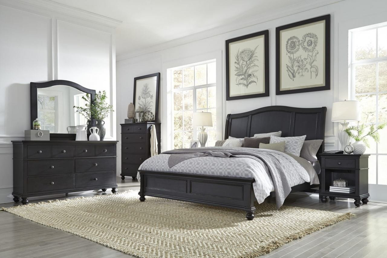 Best Aspenhome Oxford 4Pc Sleigh Bedroom Set In Black With Pictures