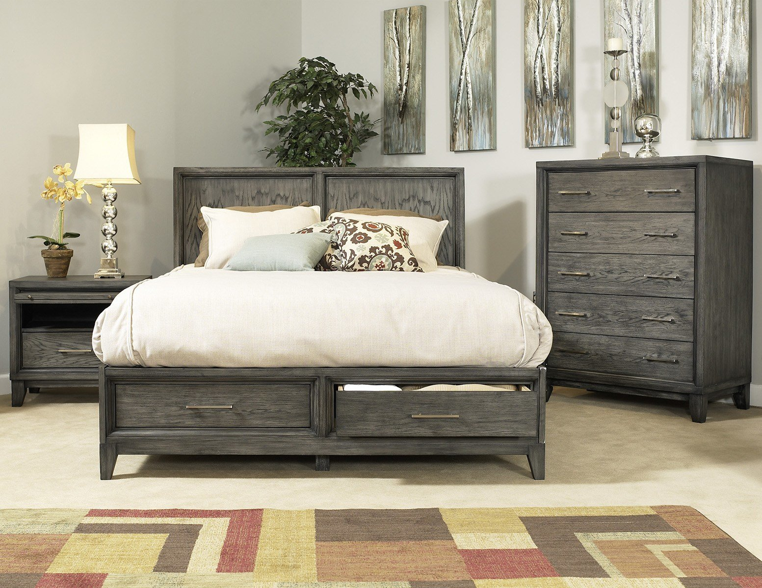 Best Ligna Soho 4 Piece Panel Storage Bedroom Set In Gray Wash With Pictures