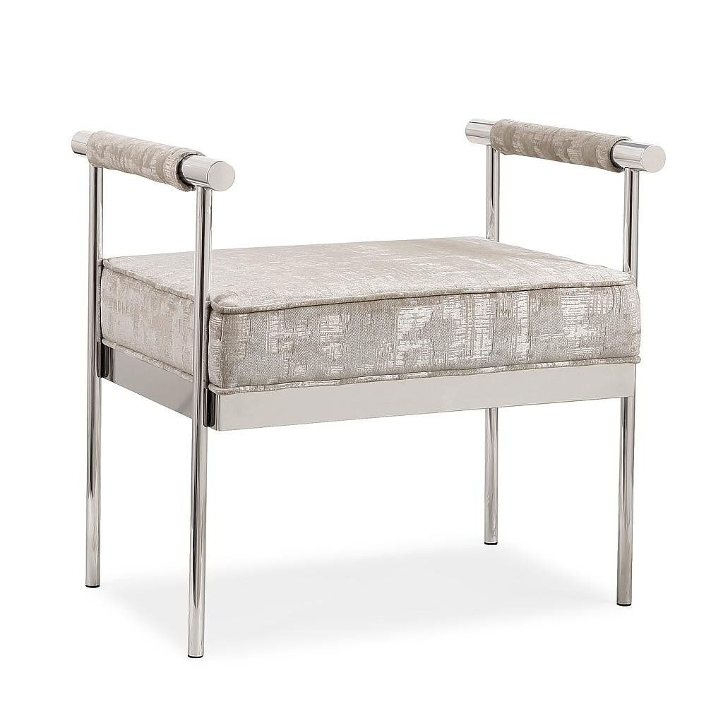 Best Valentino Silver Upholstery Modern Bedroom Bench With Pictures