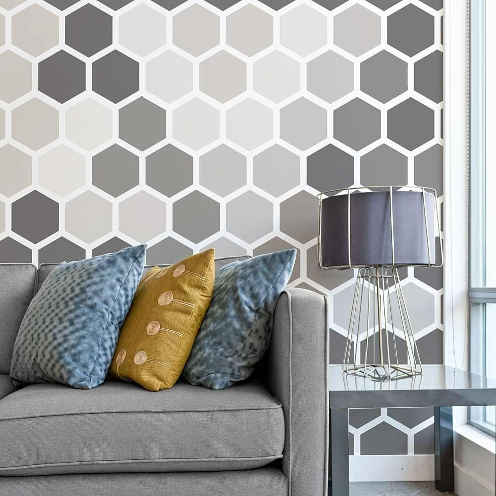 Best Honeycomb Wallpaper Stencil Geometric Stencils For Walls With Pictures