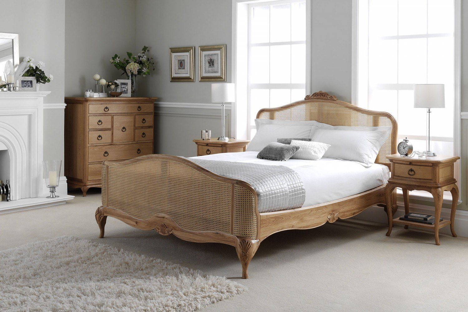 Best Charlotte French Inspired Oak Rattan Bed Solid Oak With Pictures