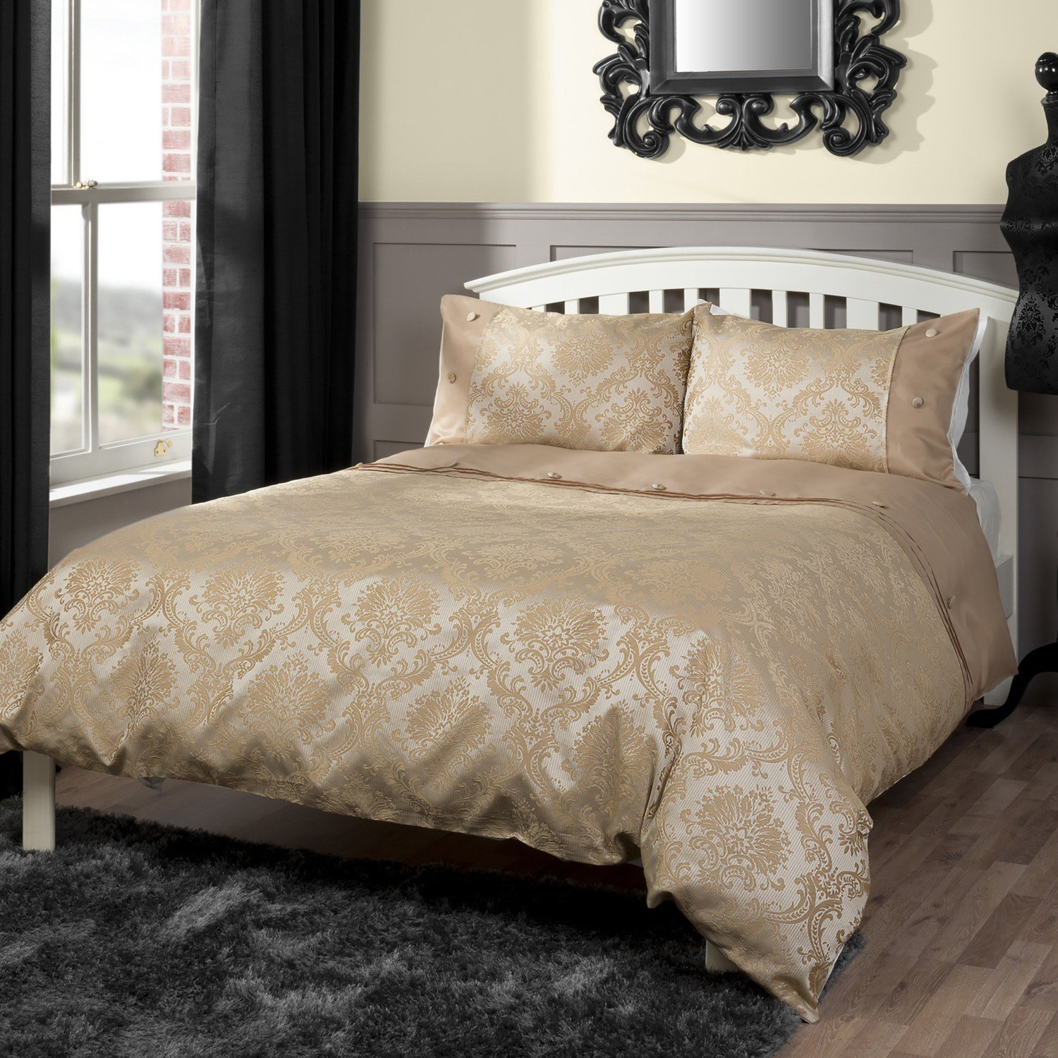 Best Chadwick Damask Duvet Cover And Pillowcase Set With Pictures