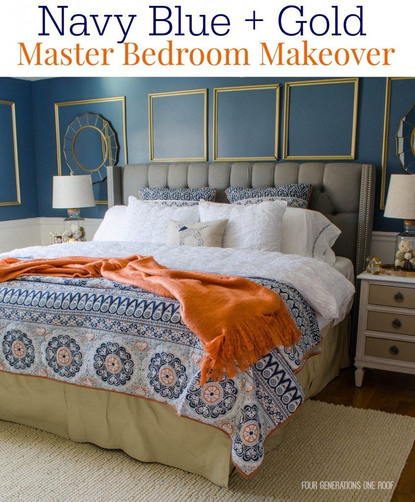 Best Gorgeous Navy Blue Gold Master Bedroom Makeover Four With Pictures
