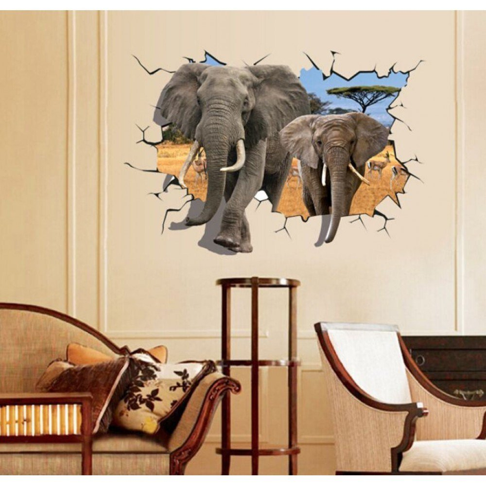 Best 3D Elephant Wall Sticker Wall Murals Wallpaper With Pictures