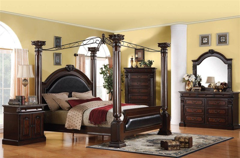 Best Roman Empire Canopy 6 Piece Bedroom Set In Dark Cherry Two With Pictures