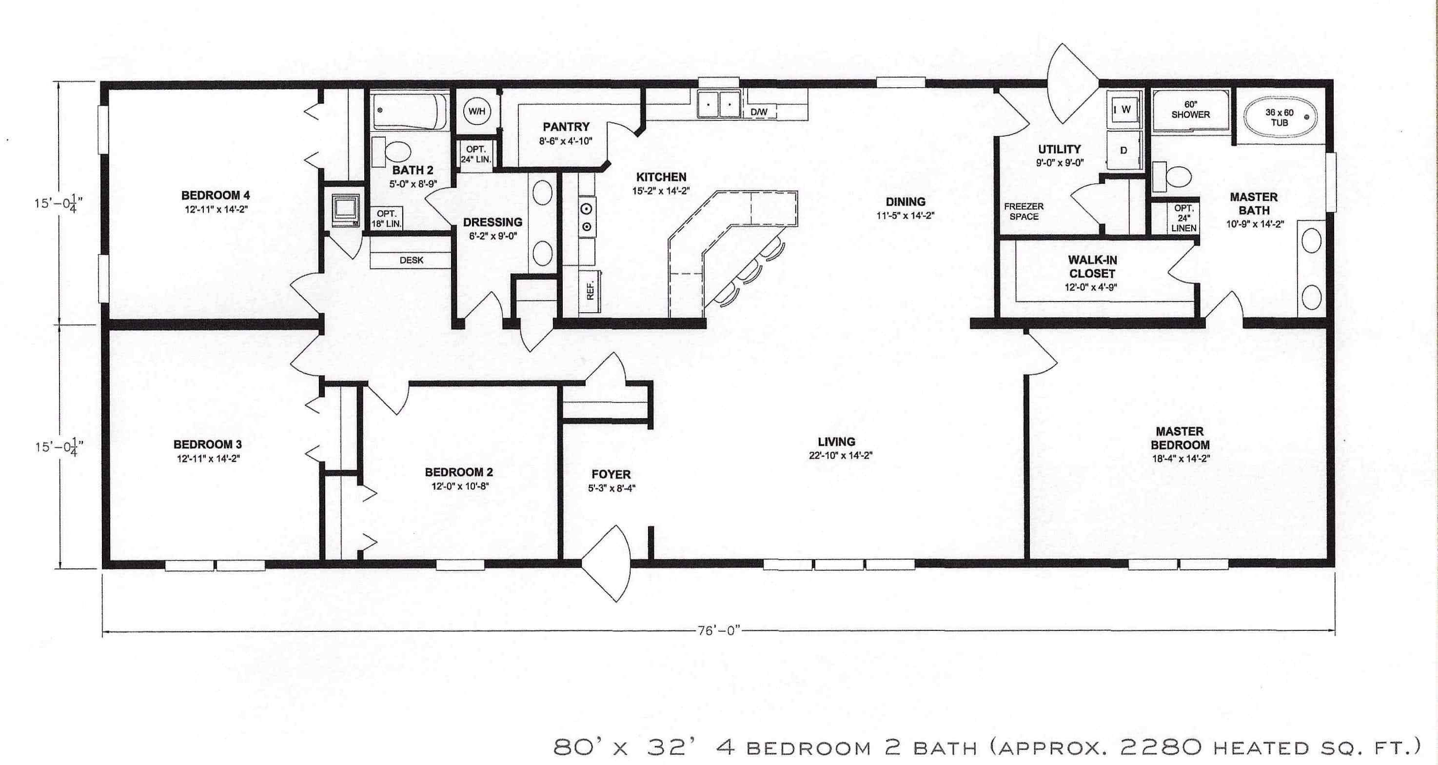 Best 4 Bedroom Floor Plan F 1001 Hawks Homes Manufactured With Pictures