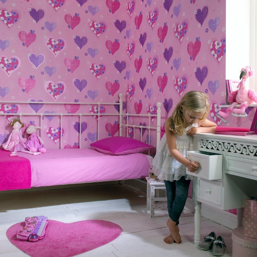 Best Arthouse Happy Hearts Flowers Childrens Kids Bedroom With Pictures