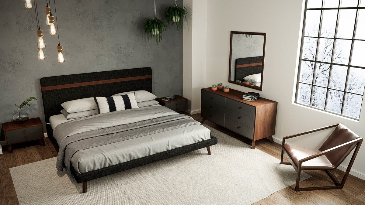 Best Nova Domus Dali Mid Century Grey Walnut Bedroom Set With Pictures