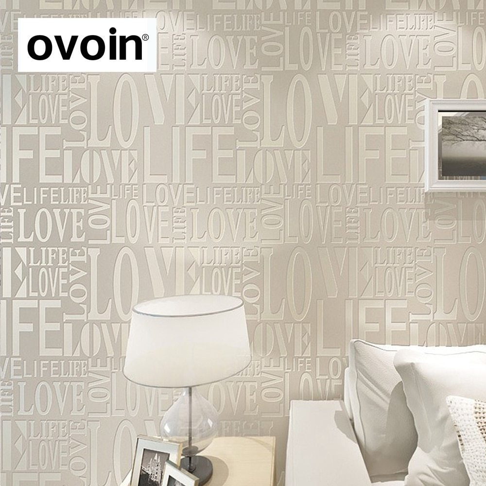 Best Purple Gray Pink Yellow White Flock Words Textured Letters Modern Wallpaper Simple Embossed With Pictures