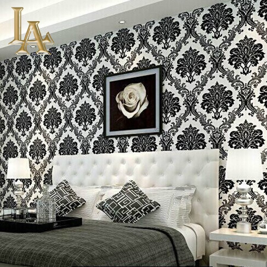 Best European Embossed Flocking Black Damask Wallpaper 3D With Pictures