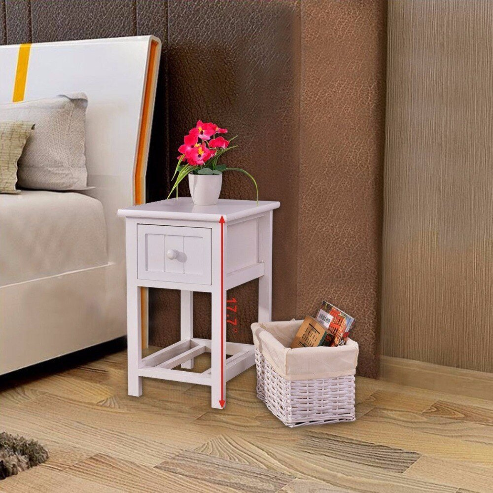 Best Goplus Night Stand 2 Layer 1 Drawer Bedside End Table With Pictures