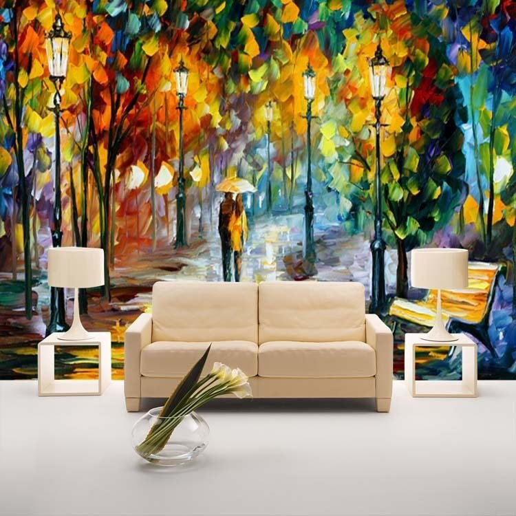 Best Unique Knife Painting Wallpaper Colorful Street Wall Mural Custom Photo Wallpaper Home Decor With Pictures