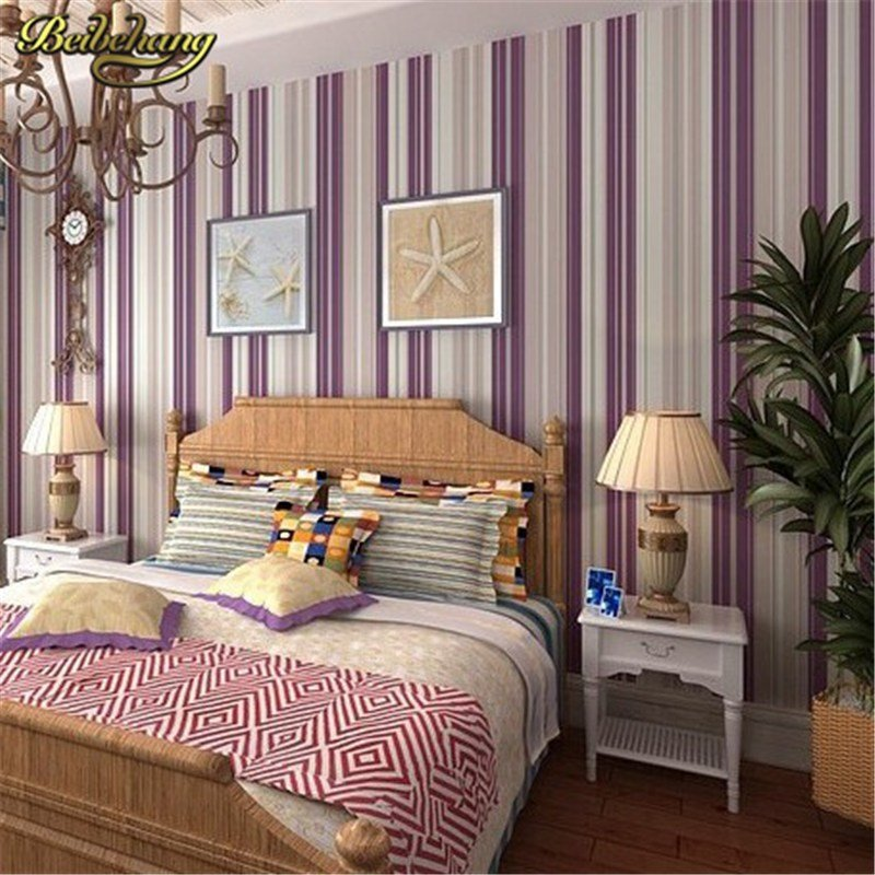 Best Beibehang Bedroom Wallpaper Purple Stripe Wallpaper Wall With Pictures