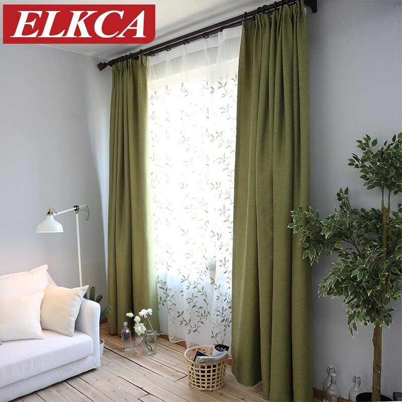 Best Elegant Thick Faux Linen Blackout Curtains For Living Room With Pictures
