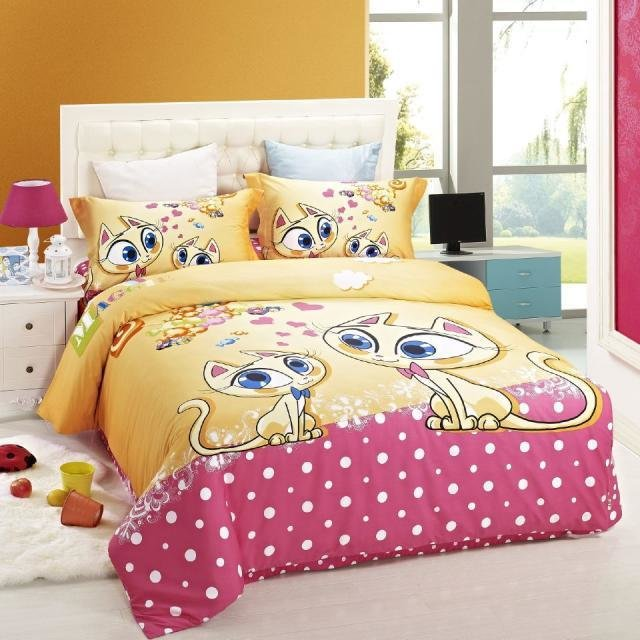 Best Duvet Cover Kids Bed Cat Print Bedding Set Children Girls With Pictures