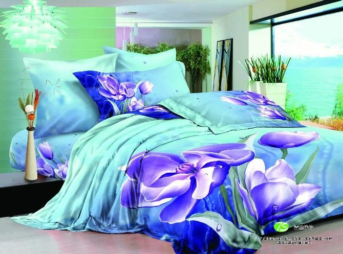 Best 3D Blue Purple Flower Bedding Set Turquoise Floral Double With Pictures