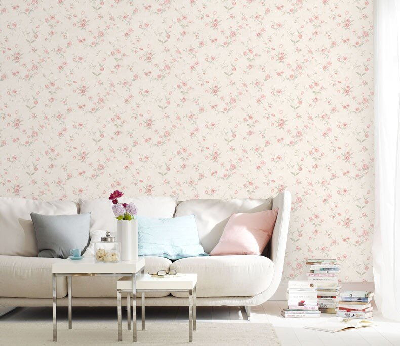 Best Pastoral Style Pink Flowers Wallpaper Girl Bedroom With Pictures