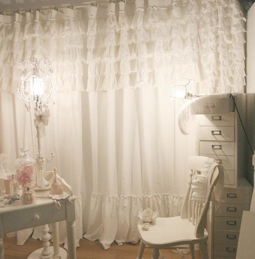 Best Custom Made Lace Curtain For Girl S Bedroom Princess Style Elegant White Curtain With Flouncing With Pictures