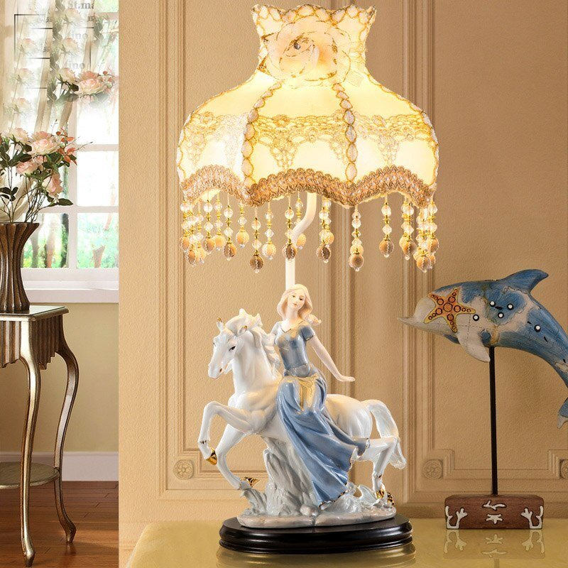 Best Horse Riding The Girl Ceramic Table Lamp Light Bedroom With Pictures