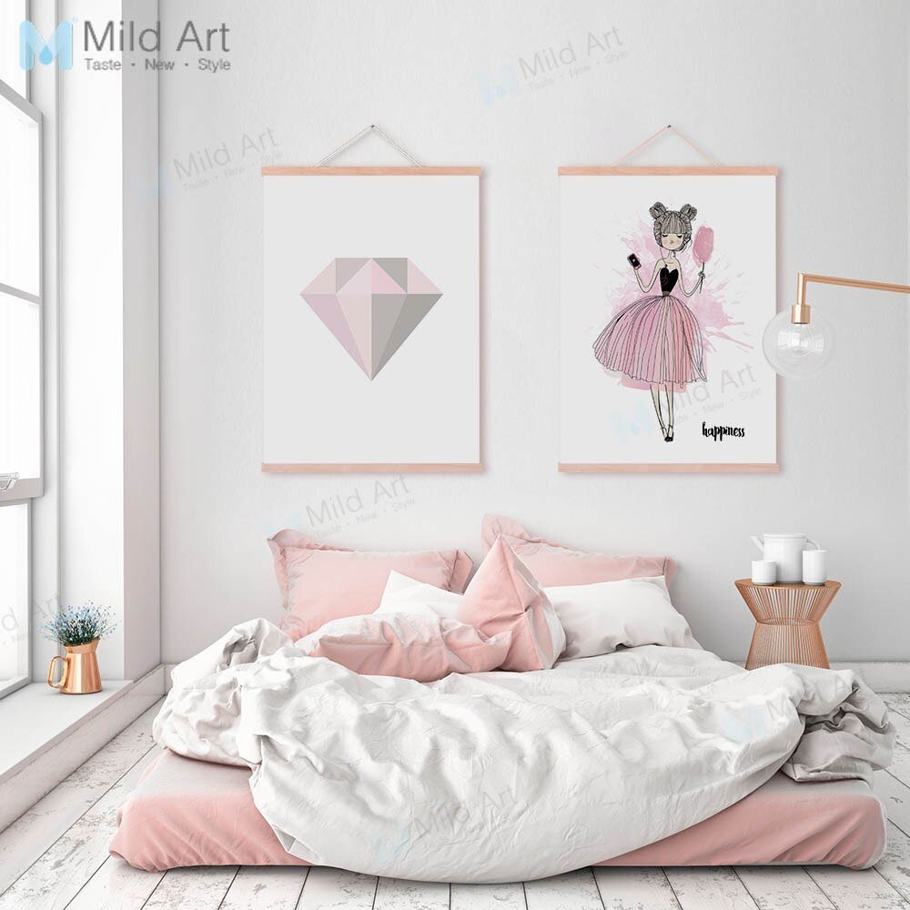 Best Romantic Pink Diamond Ballet Dance Girl Wooden Framed With Pictures