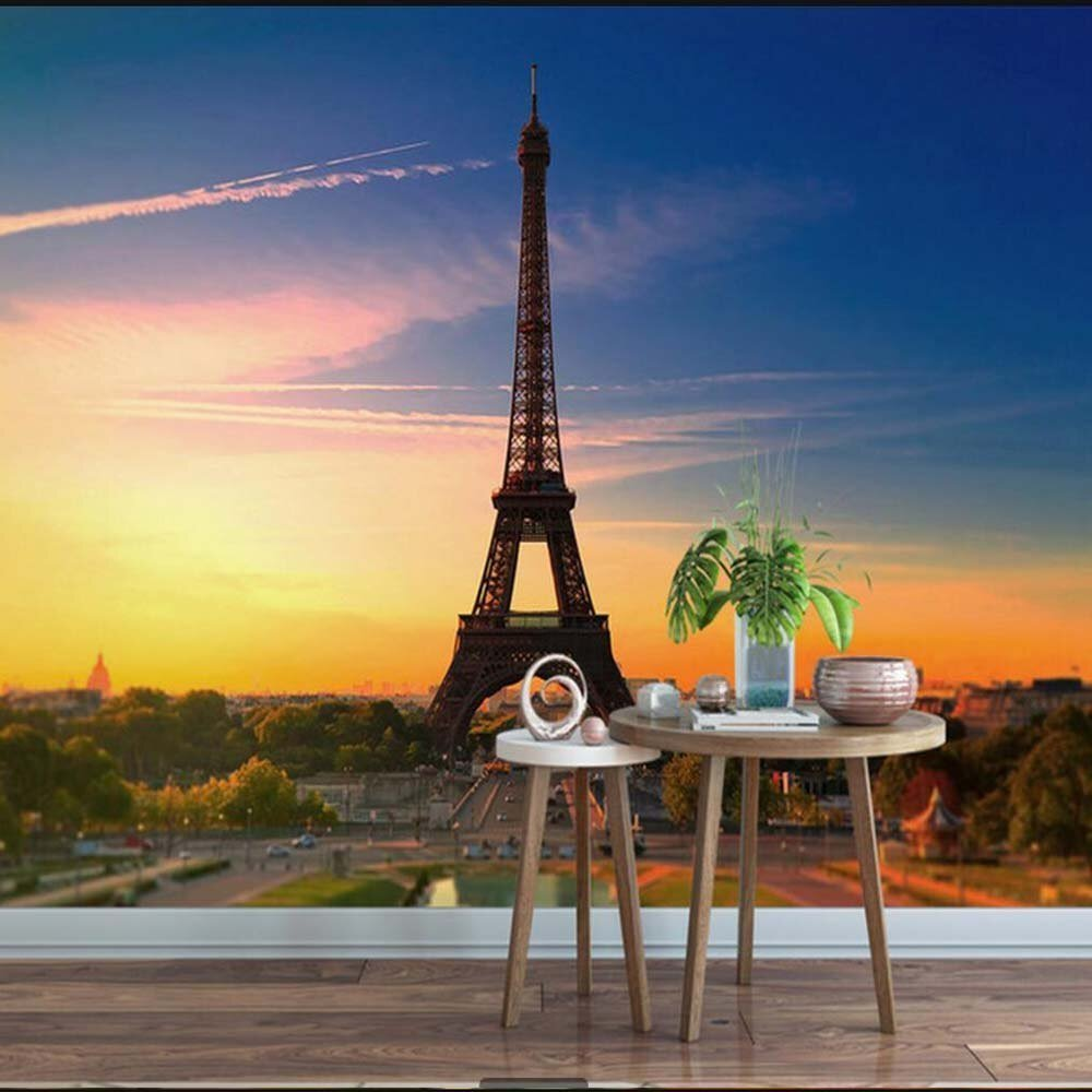 Best Dusk Blue Sky Eiffel Tower Large Mural Wallpaper Living With Pictures
