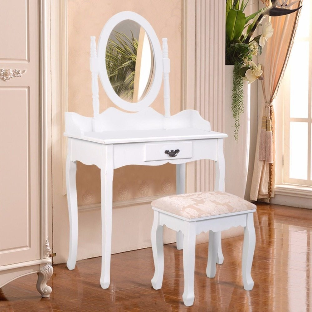 Best Goplus Black White Vanity Wood Makeup Dressing Table Stool With Pictures