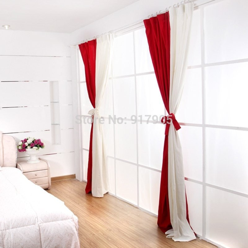 Best Hot Fashion White And Red Curtains For Living Room With Pictures
