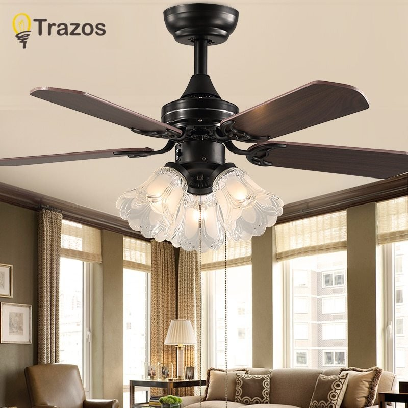 Best Trazo Black Vintage Ceiling Fan With Lights Remote Control With Pictures