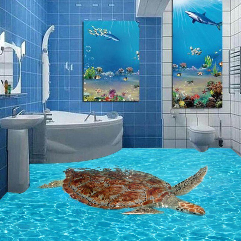 Best Free Shipping 3D Turtle Sea World Bathroom Floor Painting With Pictures
