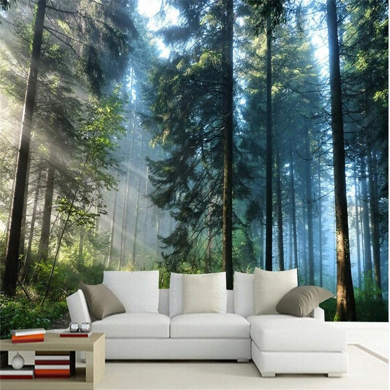 Best Beibehang Custom Painting Living Room Natural Forest Wall With Pictures
