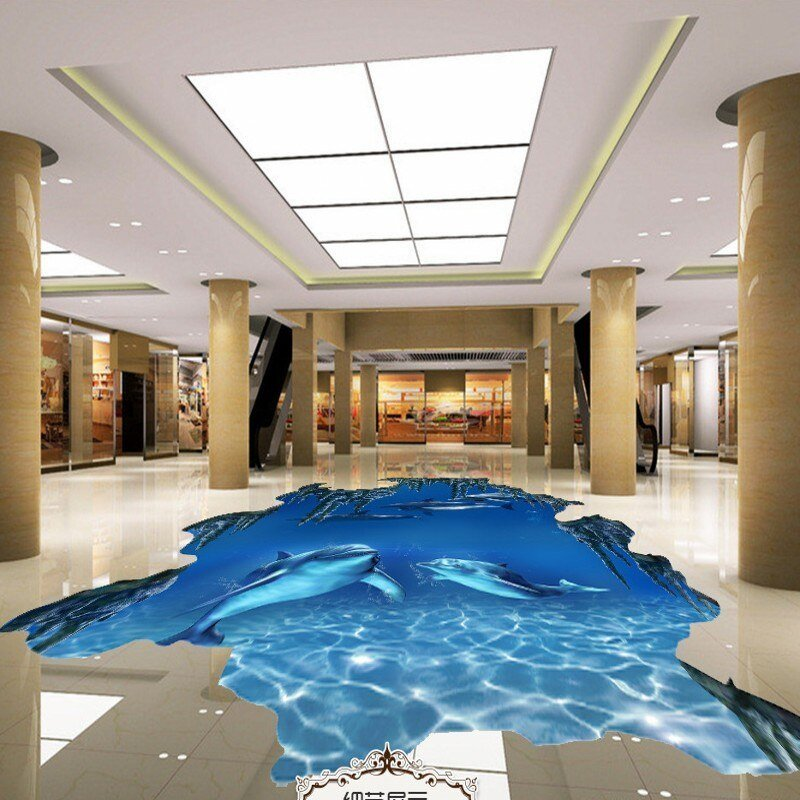 Best Free Shipping Underwater World Dolphin 3D Floor Wear Non With Pictures