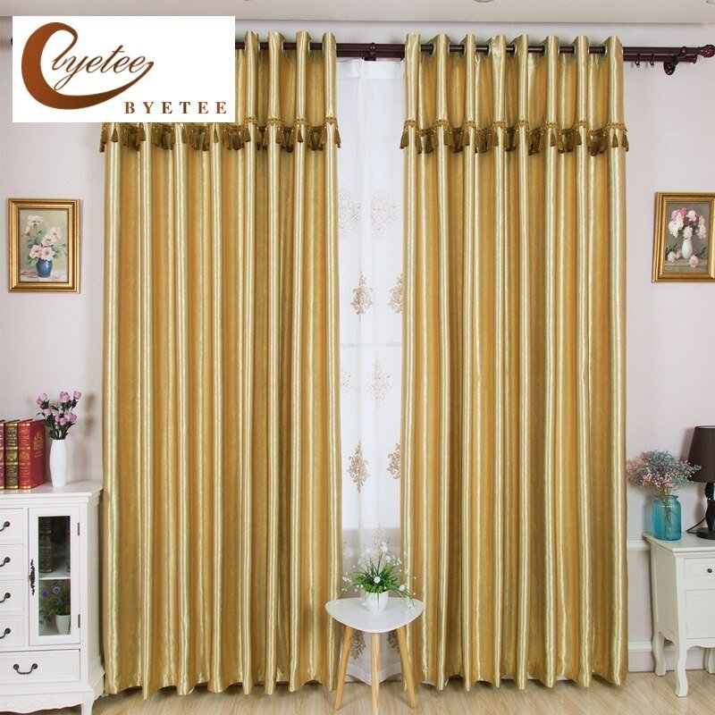 Best Byetee Gold Blackout Solid Color Window Curtain For With Pictures