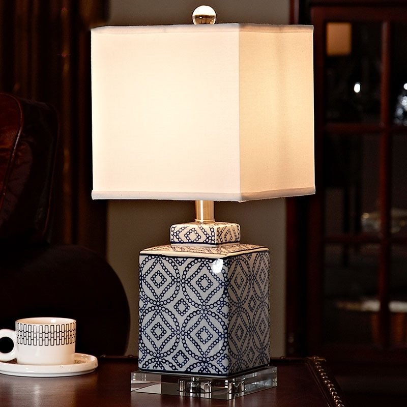 Best Luxury Blue And White Porcelain Table Lamp Luxury Bedroom With Pictures