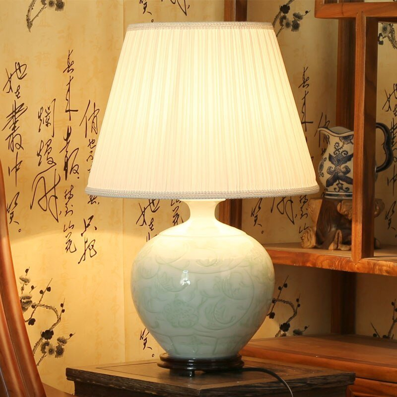 Best Beautiful Chinese Hand Carved Flower Design Celadon Porcelain Ceramic Table Lamps For Bedroom With Pictures