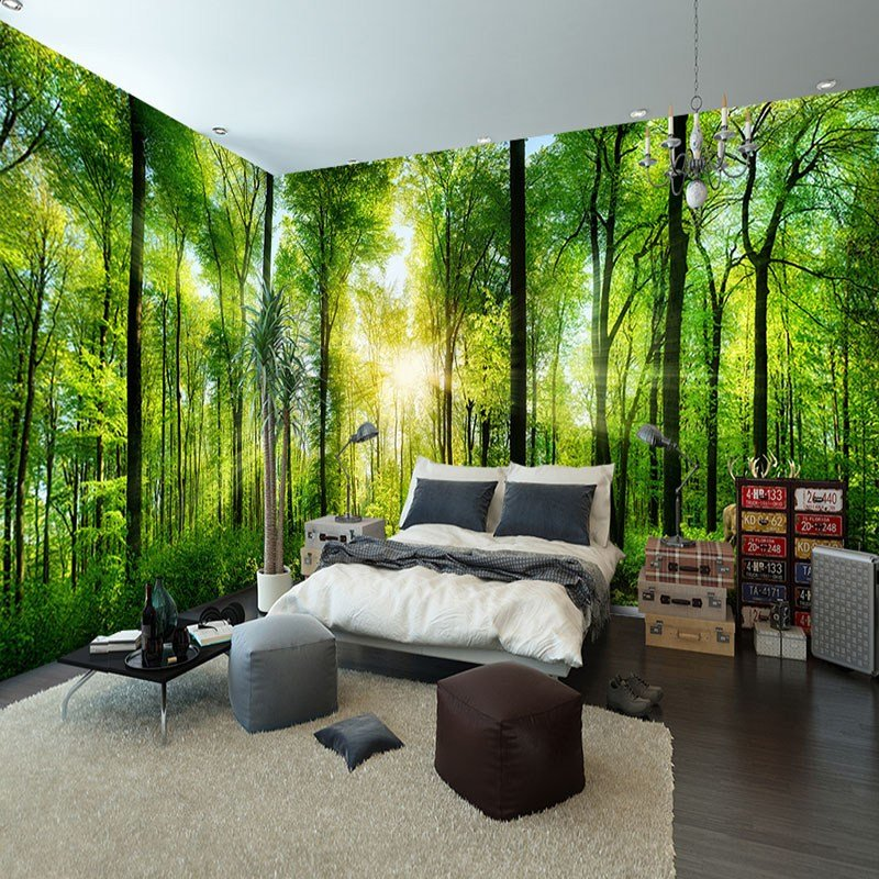 Best Aliexpress Com Buy Custom Mural Natural Scenery Wallpaper Forest 3D Landscape Background Wall With Pictures